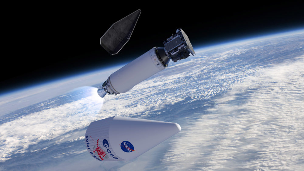 Artist's impression of the fairing encapsulating Solar Orbiter being released following launch on an Atlas V 411